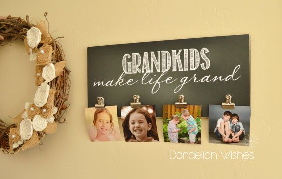 8x18 Photo Clip Frame with 3 or 4 clips; Grandkids (Grandchildren) Make Life Grand; Grandparents Day, Christmas Gift, Mother's Day Gift