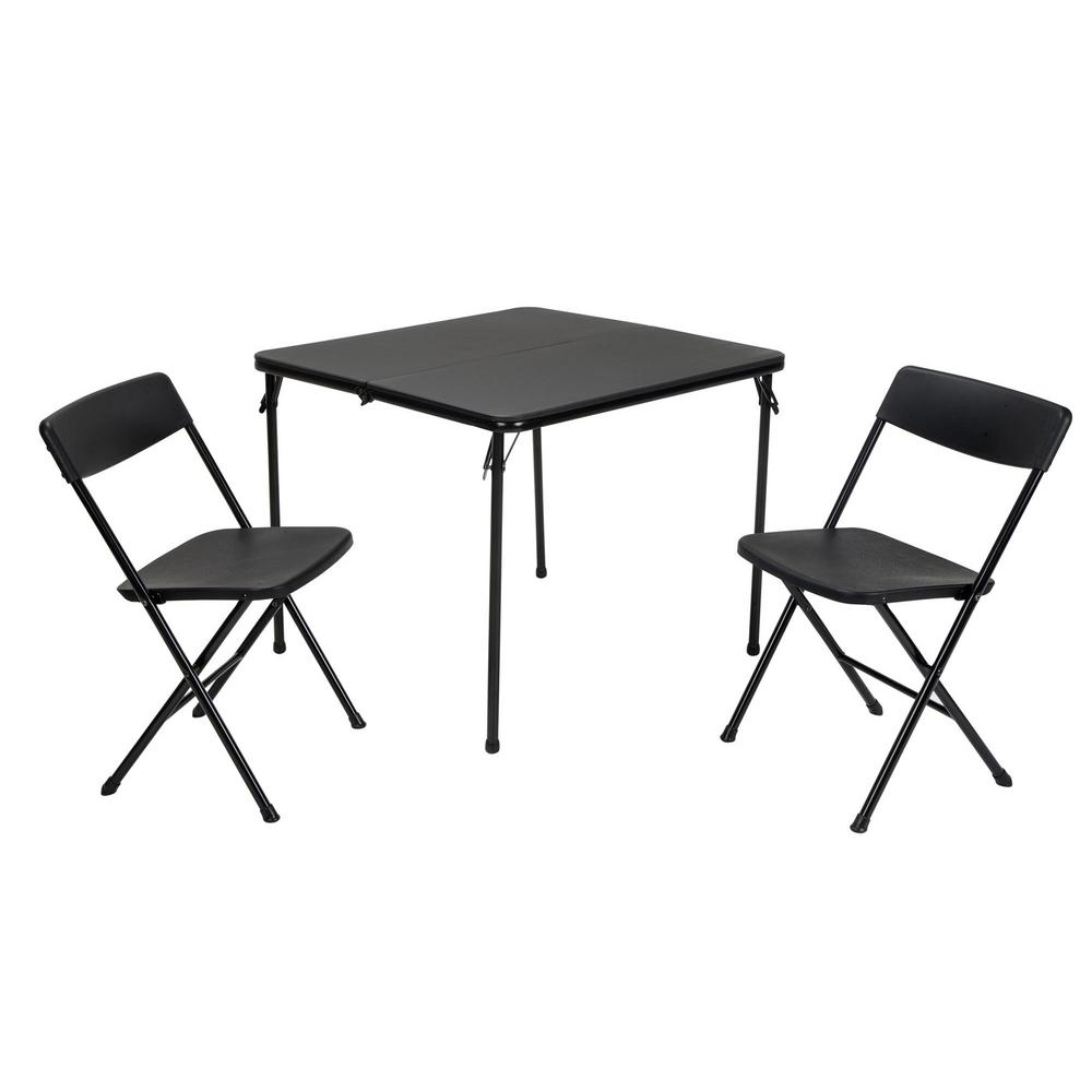 Cosco 3 Piece Black Fold In Half Folding Table Set 37334blk1e The Home Depot Outdoor Folding Table Folding Table Table And Chair Sets