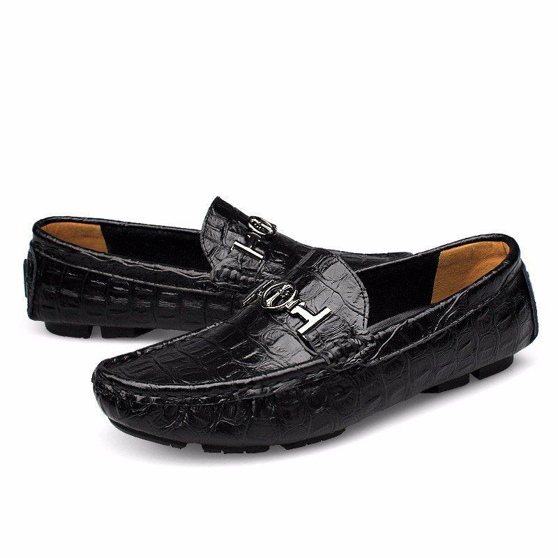 Men's Classic Casual Breathable Soft Leather Driving Loafer Black 41