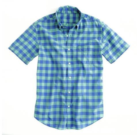 Men's short-sleeve mint gingham shirt