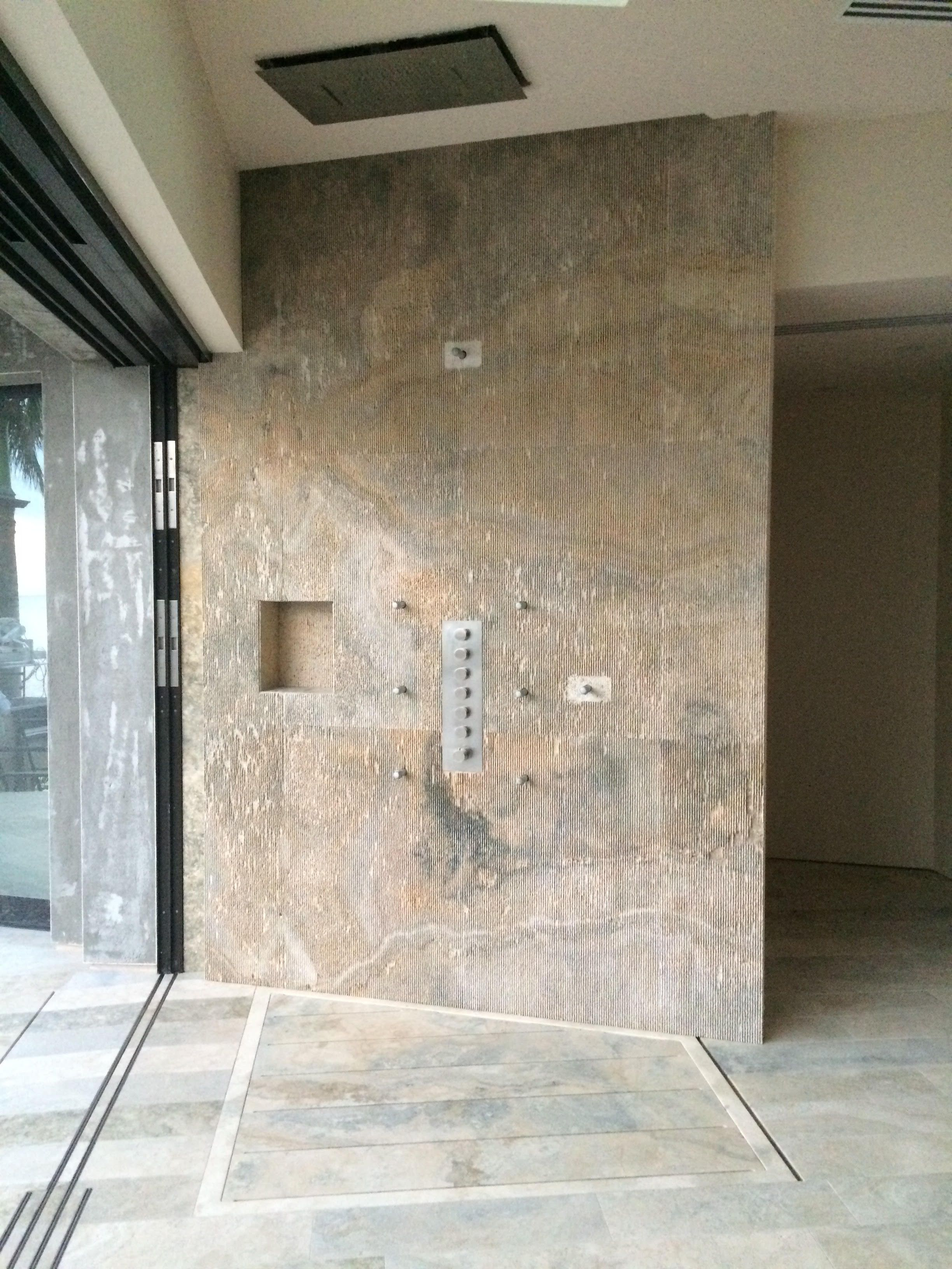 Italian Natural Stone Shower Wall From Inside A Contemporary Hawaiian