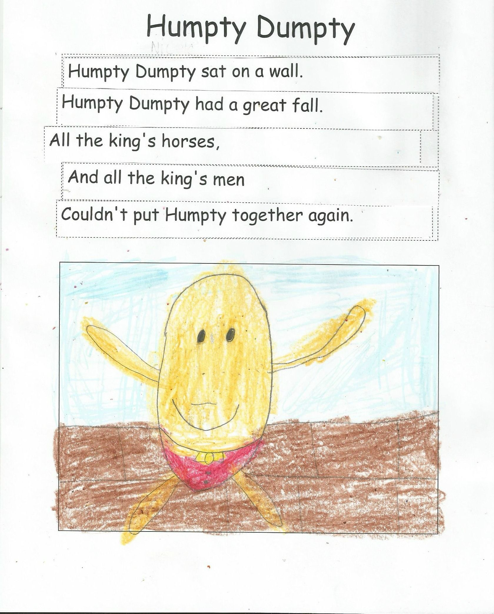 Humpty Dumpty Sequence Of Events