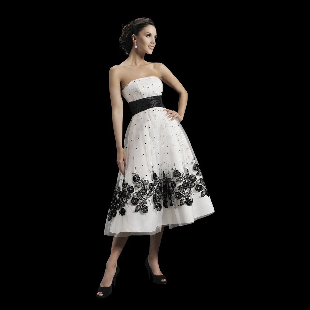 http://dyal.net/black-and-white-wedding-dresses Tea Length Black ...