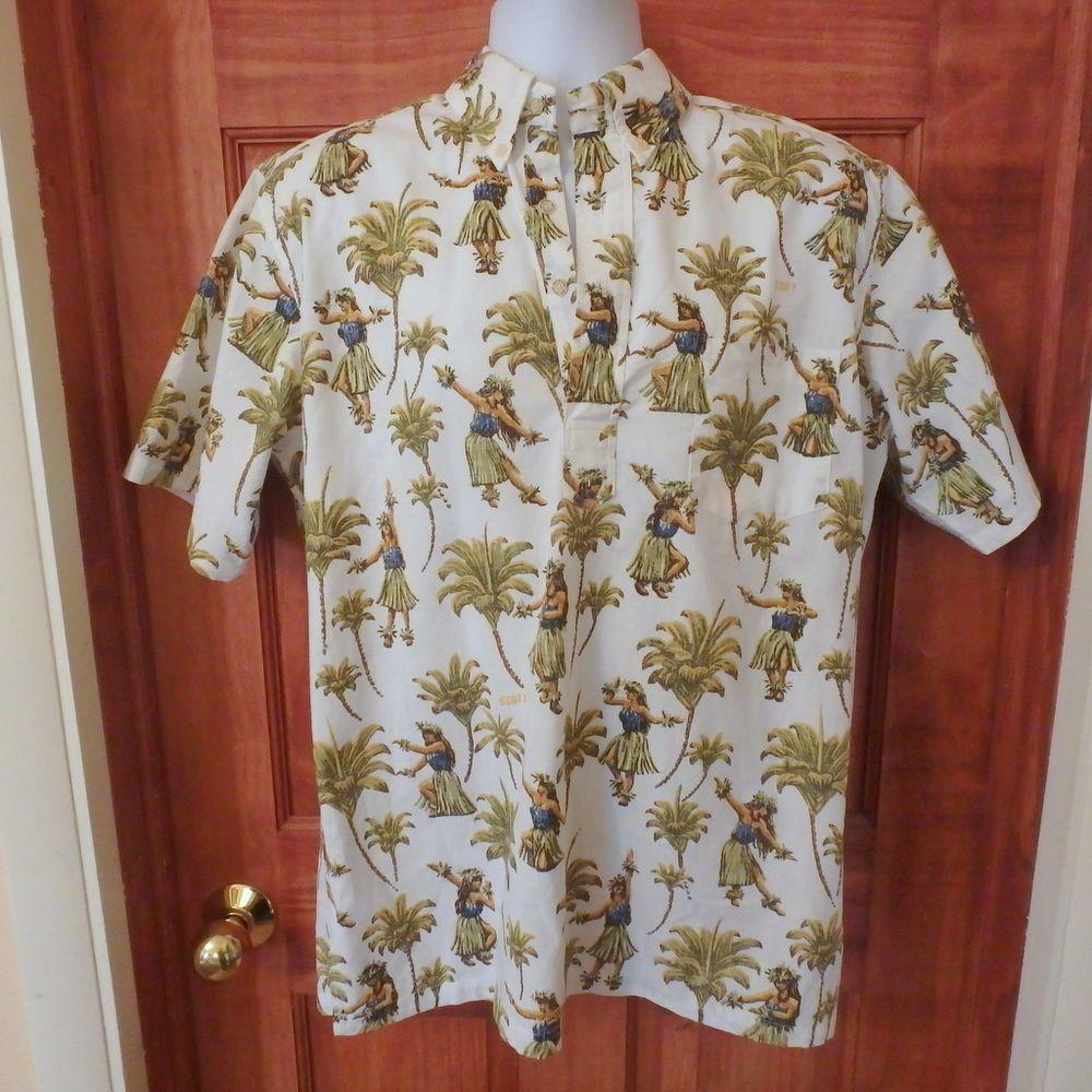 Reyn Spooner Hawaiian Aloha Eddy Y Hula Dancer Pullover shirt Sz M ...