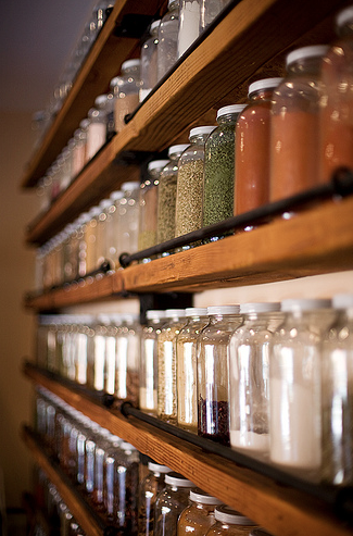 spices....Love these shelves. pretty & organized. could go on a wall to make up for small pantry