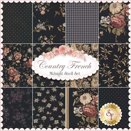 """Country French is a floral fabric collection by Maywood Studio Fabrics. 100% Cotton. This set contains 12 fat quarters, each measuring approximately 18"""" x 21""""."""