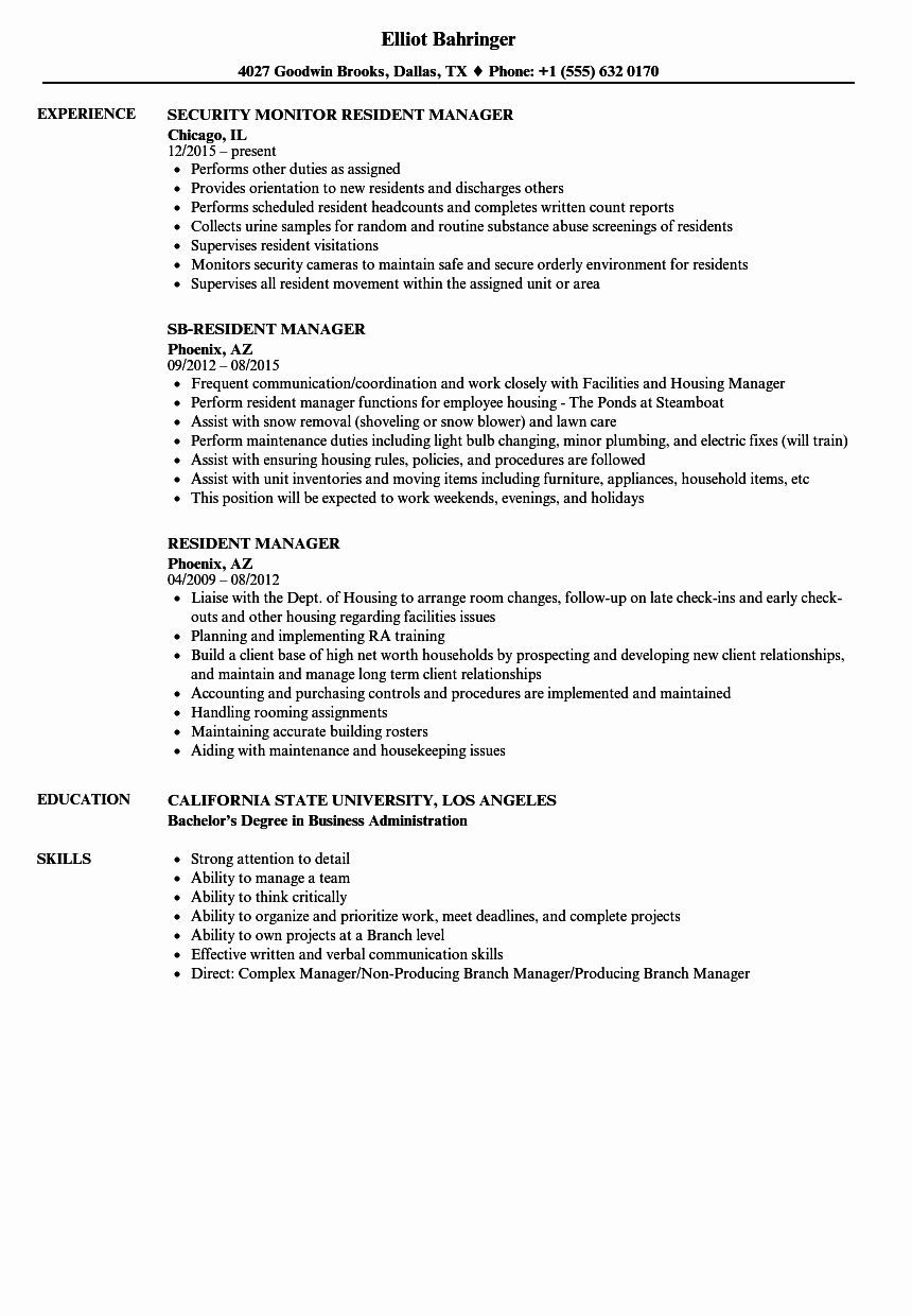 Resident Assistant Resume Examples Unique Resident Manager Resume Samples Resume Examples Resident Assistant Resume Objective Examples