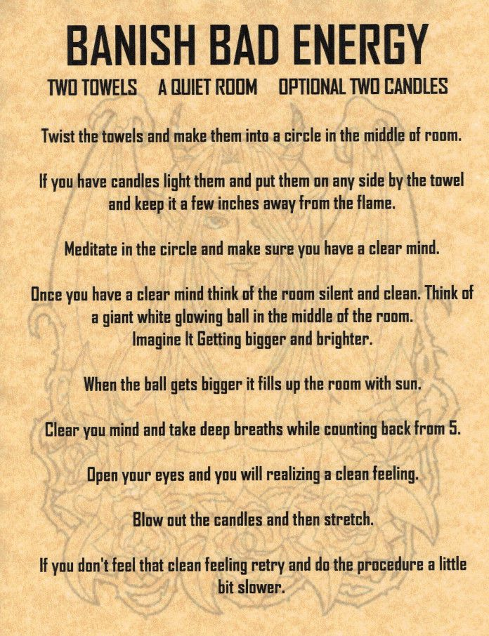 Banish Bad Energy Spell, Book of Shadows Page, BOS Pages
