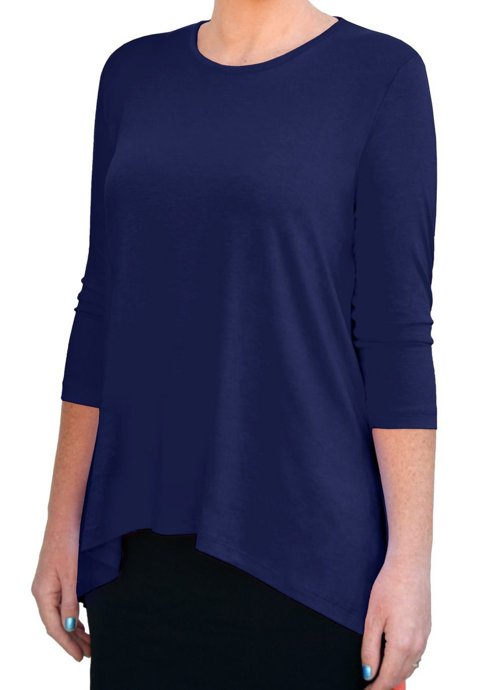 Tunic top for women with mullet cut short frontlong back covers