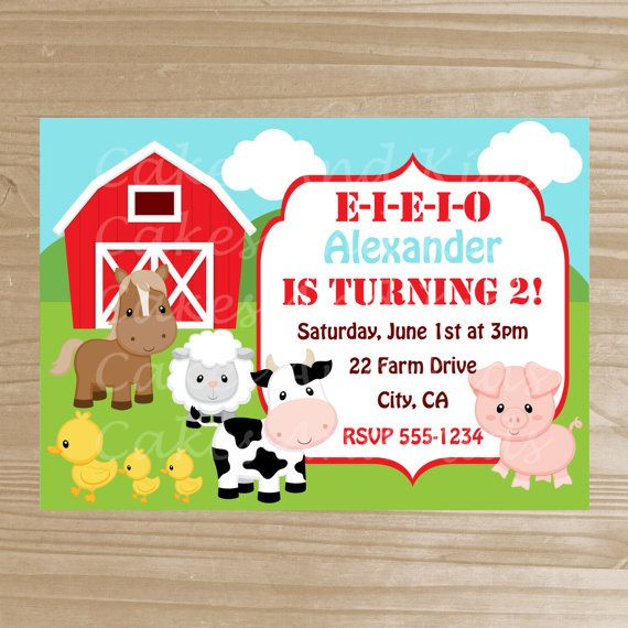 Barnyard Invitation Farm Printable by CakesAndKidsDesigns on Etsy – Farm Party Invitations