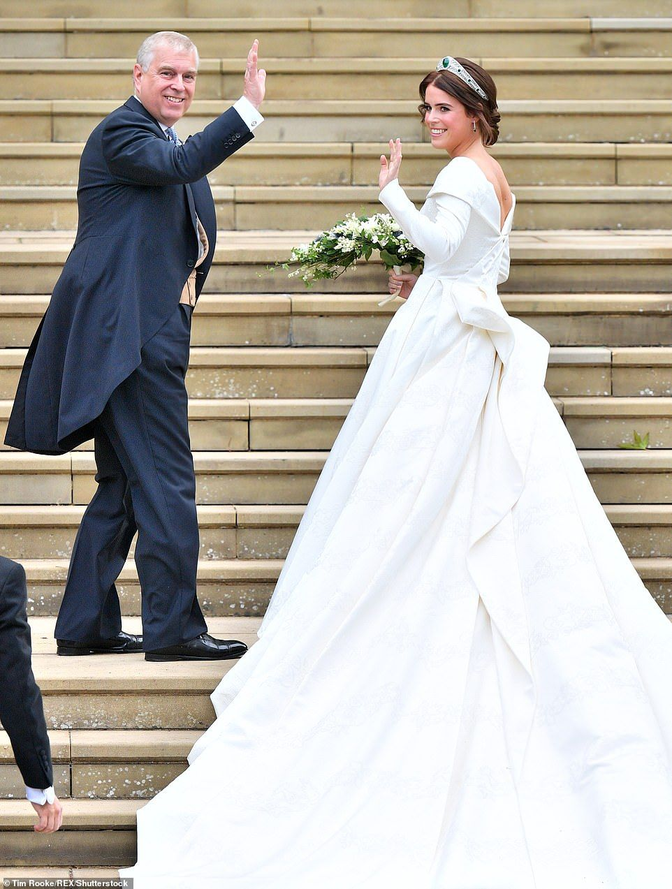 Sarah burton kate middleton wedding dress  Eugenie stuns in wedding dress  which also shows off surgery scars