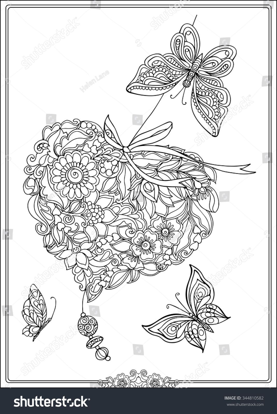 Coloring Book For Adult And Older Children Page With Decorative Vintage Flowers Butterflies Outline Hand Drawn Vector