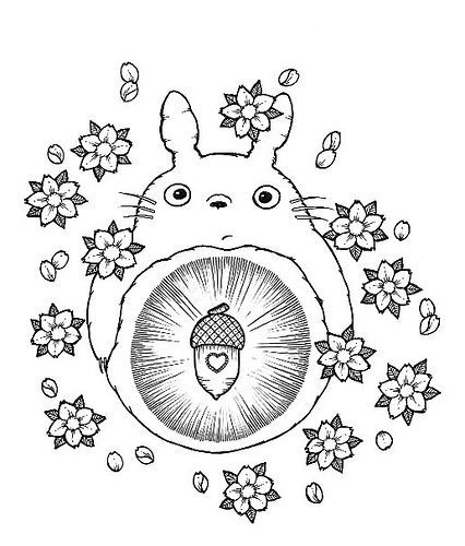 Kawaii Tattoo Designs Coloring Pages Studio Ghibli Totoro