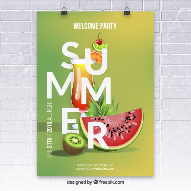 Summer party poster with fruits Free Vector