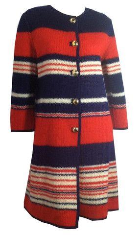Preppy Meets Luxe Italian Striped Coat circa 1960s - Dorothea's Closet Vintage