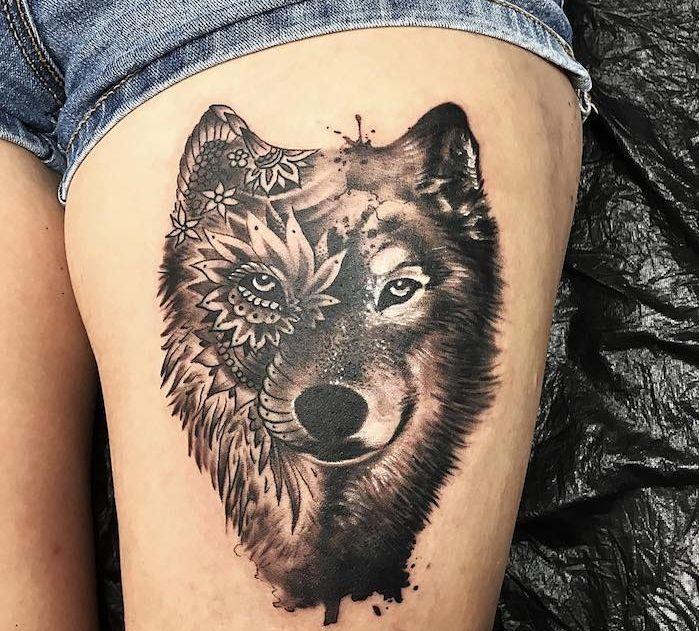 1001 mod les de tatouage loup pour femmes et hommes dessin t te de loup tatouage tete de - Tete de loup tatouage ...