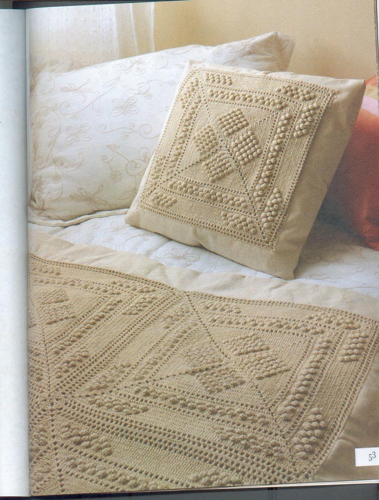 Manitos y palillos cojin a crochet a tejer pinterest - Cojin de crochet ...