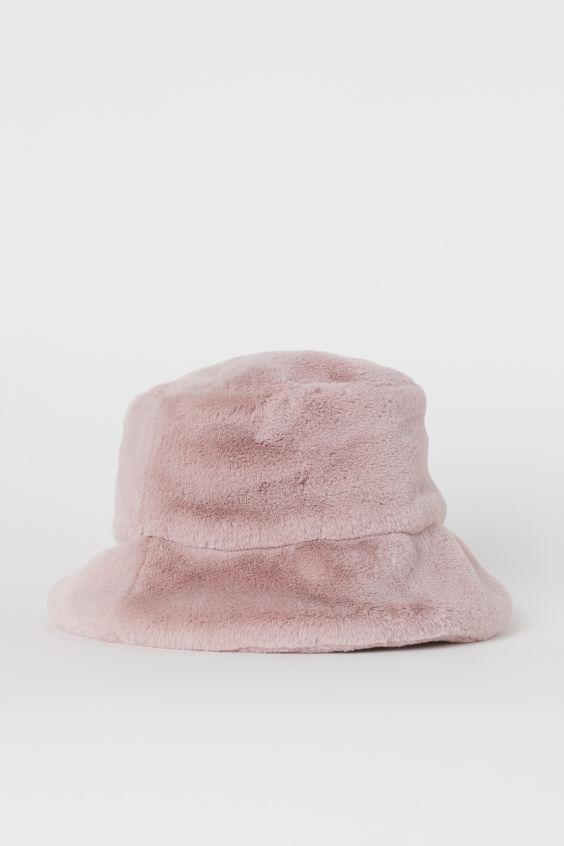 Faux Fur Bucket Hat Powder Pink Ladies H M Us Fur Bucket Hat Bucket Hat Fashion Faux Fur Bucket Hat