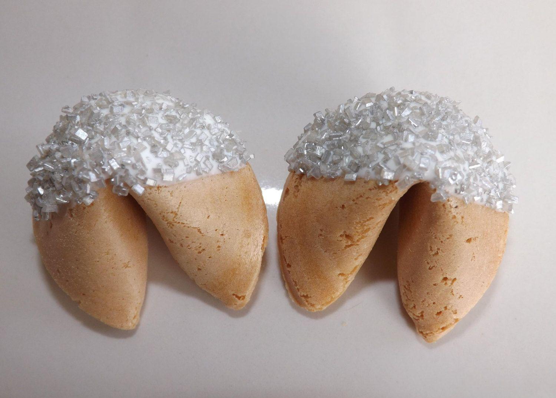 25 Silver Sugar Fortune Cookies Wedding By PixiesSweetTreats 2595