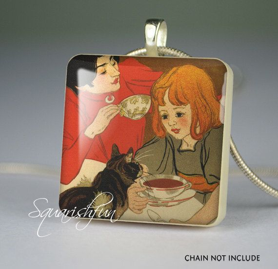 Girl and cat resin pendant