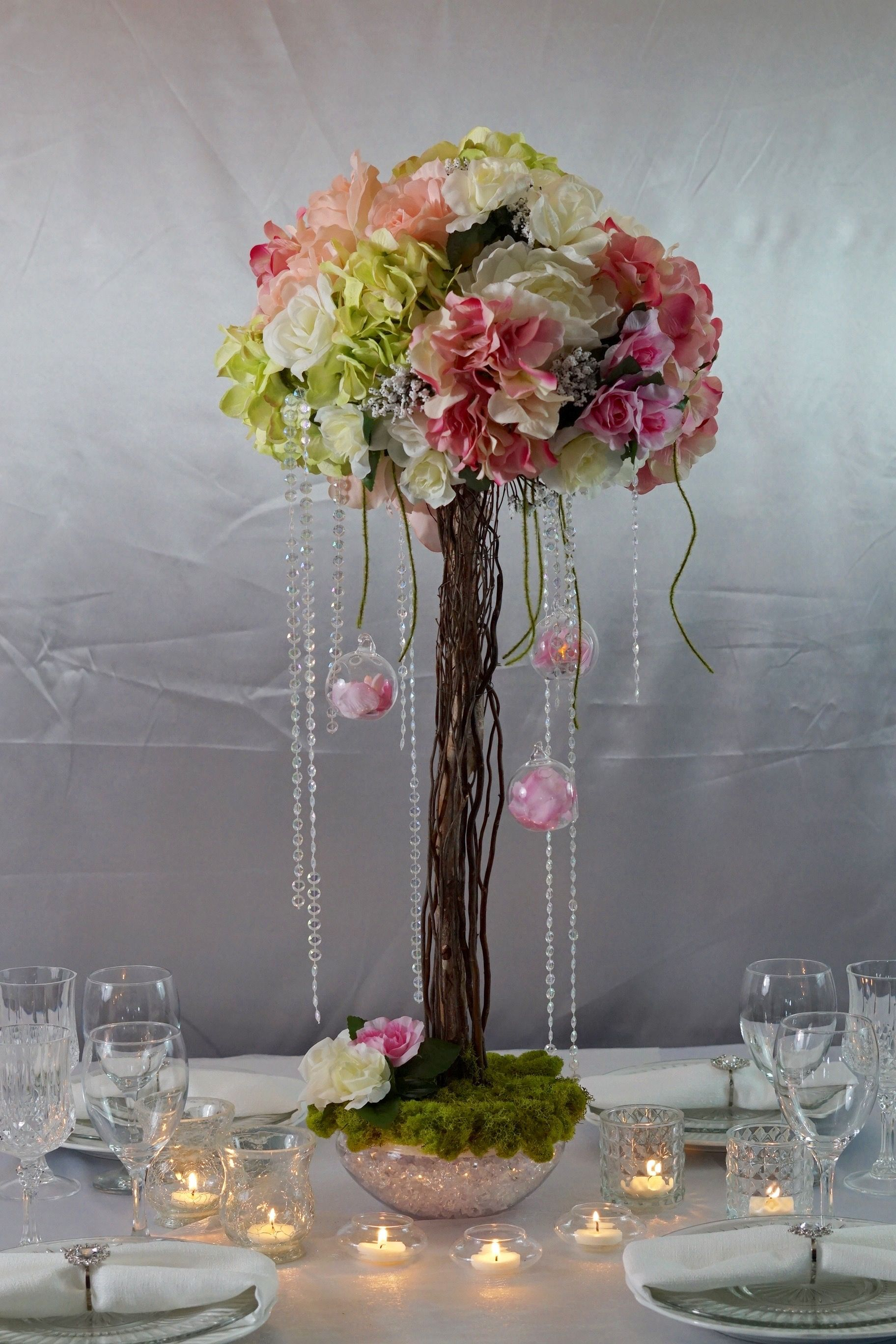 Simply Beautiful Willow And Birch Branch Wedding Centerpiece