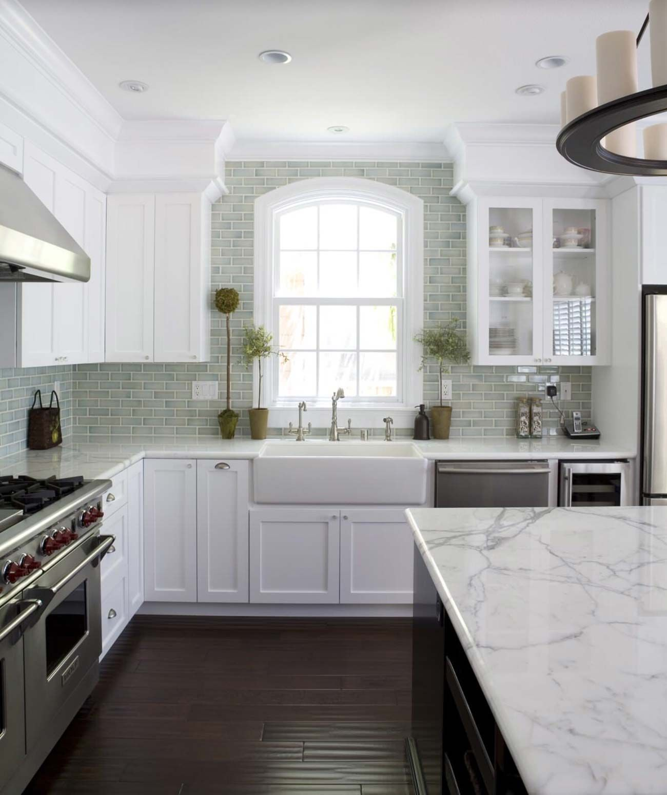 Wonderful Picture Of Kitchens With Dark Hardwood Floors And White Cabinetry