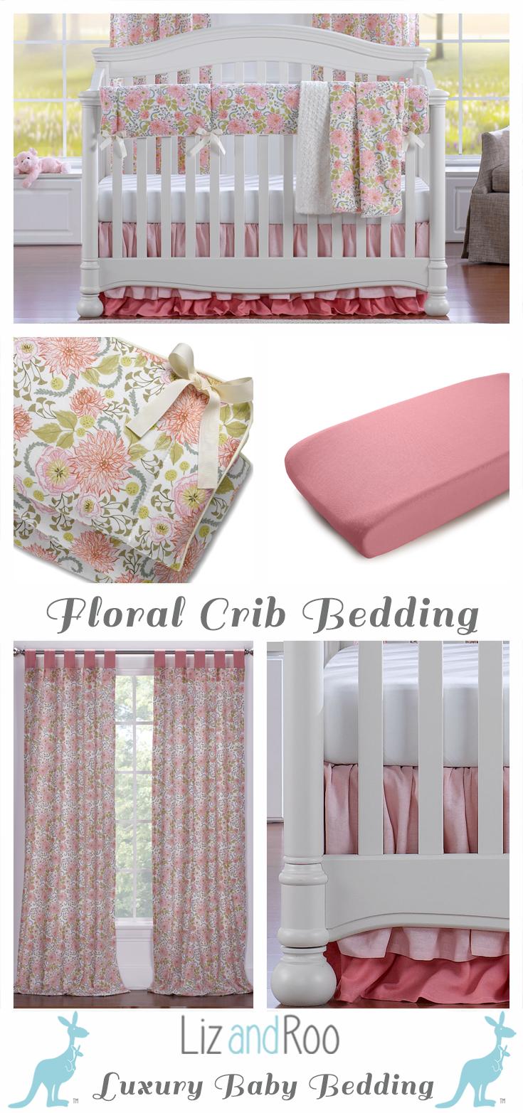 Pink Floral Bumperless Crib Bedding | Mi vida es, México city y Amor ...