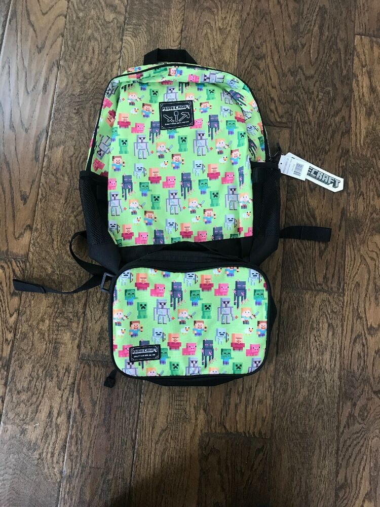 Minecraft 16in Kids Backpack With Matching Insulated Lunch
