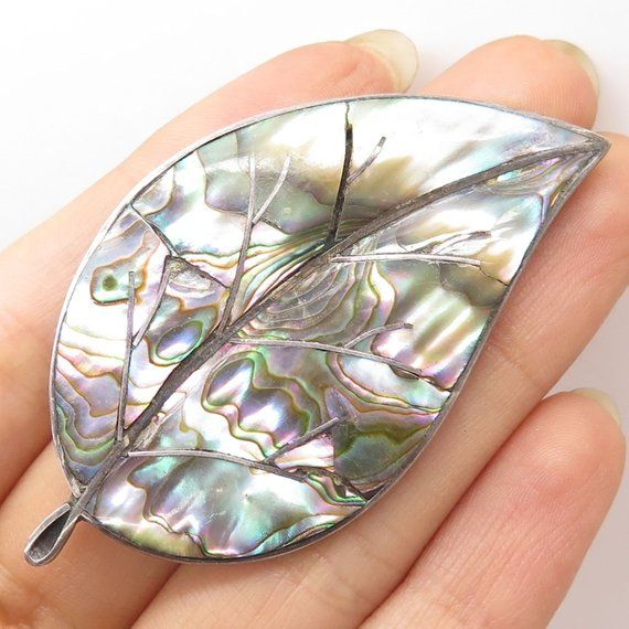 Fine Jewelry Jewelry & Watches Vtg Mexico 925 Sterling Silver Abalone Shell Large Leaf Pin Brooch
