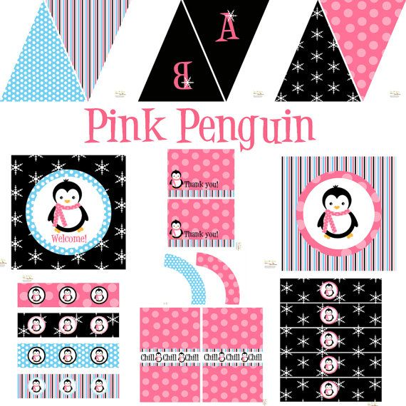 Penguin Party Decorations For Birthday Or Baby Shower   DIY Printable Decor  By BeeAndDaisy   Instant