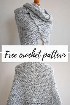 Beginner triangle shawl free crochet pattern - mallooknits.com