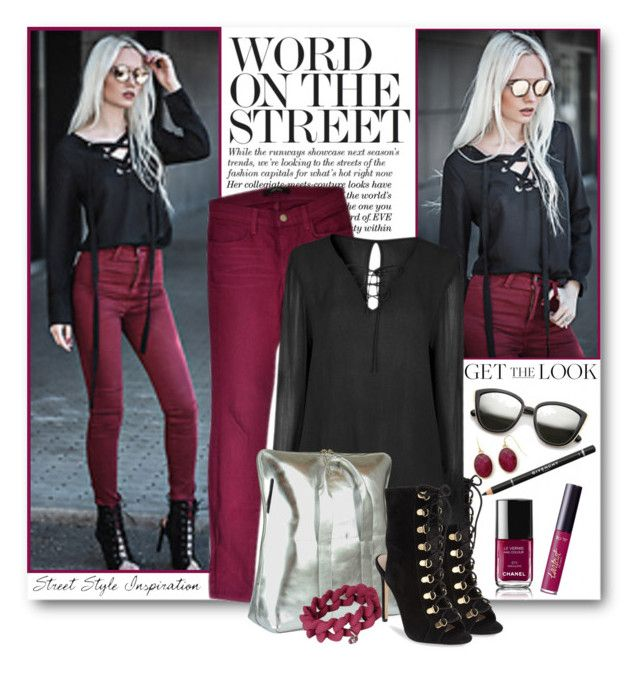 """""""Burgundy Skinny Jeans & Lace Up Blouse"""" by brendariley-1 ❤ liked on Polyvore featuring J Brand, Steve Madden, 3.1 Phillip Lim, Chanel, tarte, Givenchy, Marc by Marc Jacobs and Liz Claiborne"""