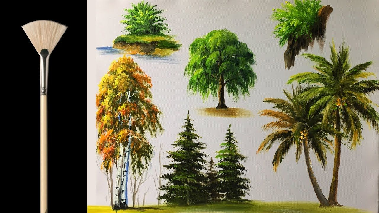 35 57 how to paint trees with fan brush