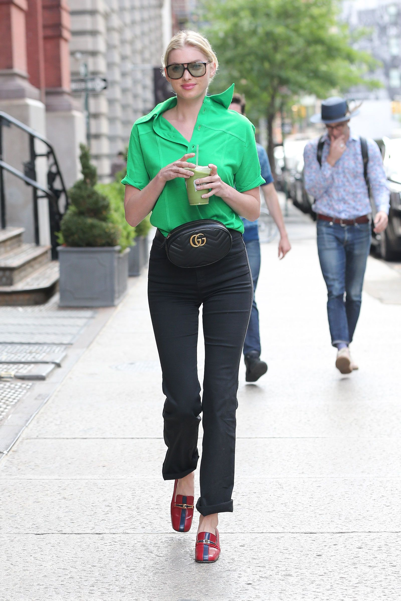 c5b3e633002a82 Elsa Hosk's Green Blouse and Gucci Belt Bag Look for Less | Spring ...