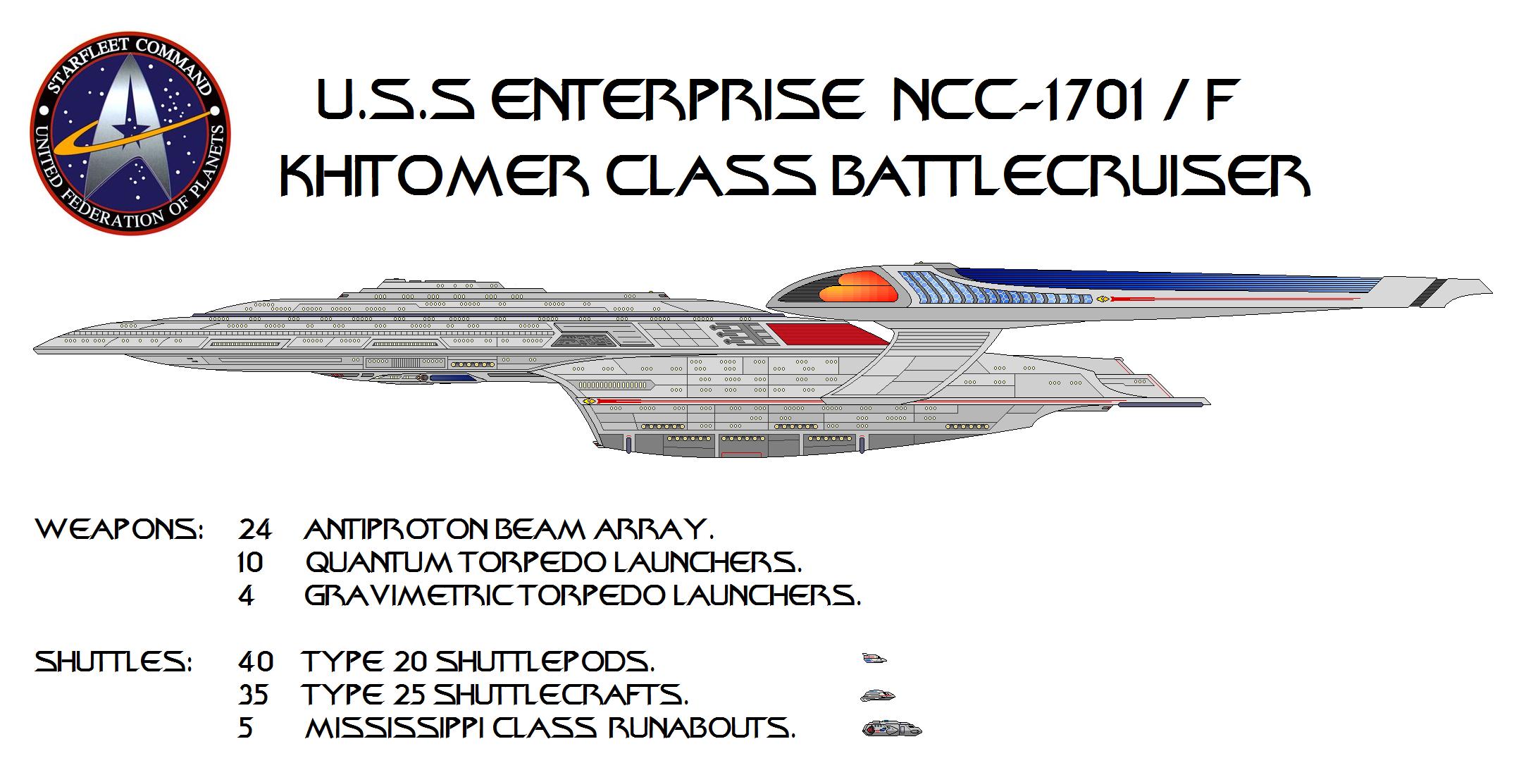 U.S.S. Enterprise NCC 1701 F Khitomer Class Battle Cruiser