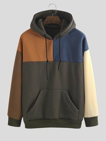 Mens Plain Patchwork Contrast Color Muff Pockets Drawstring Hoodies – Mont ve tişört