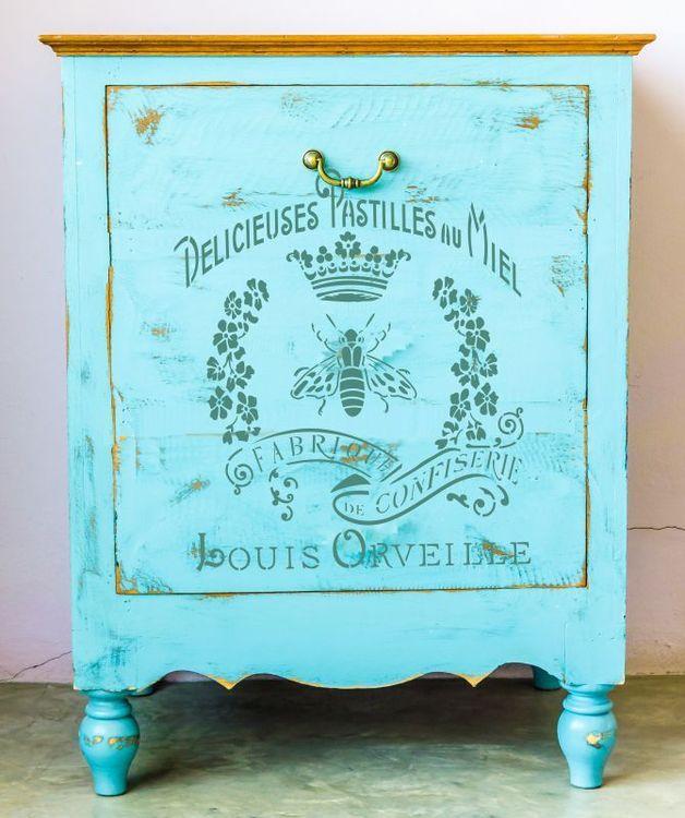 """Wandschablonen - Schablone - """"Miel"""" Vintage Style Typo... - ein Designerstück von PreciousWalls bei DaWanda"""