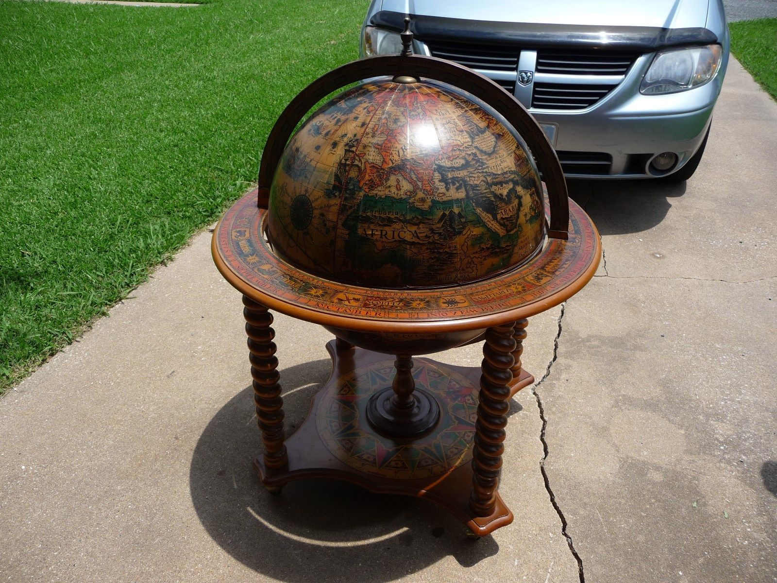 Antique Globe Bar European Painted Walnut Liquor Cocktail Cabinet | EBay