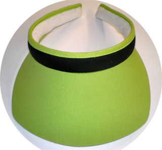 Clip On Square sun visor with Lime Brim W/Black Band.