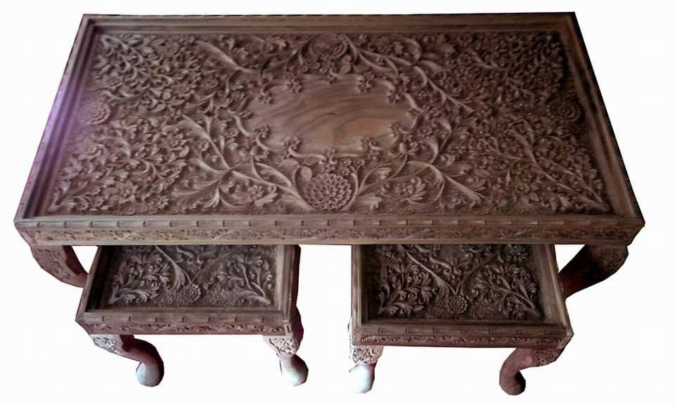 Kashmiri Wood Carving Furniture Carved Table Wood Carving Wood