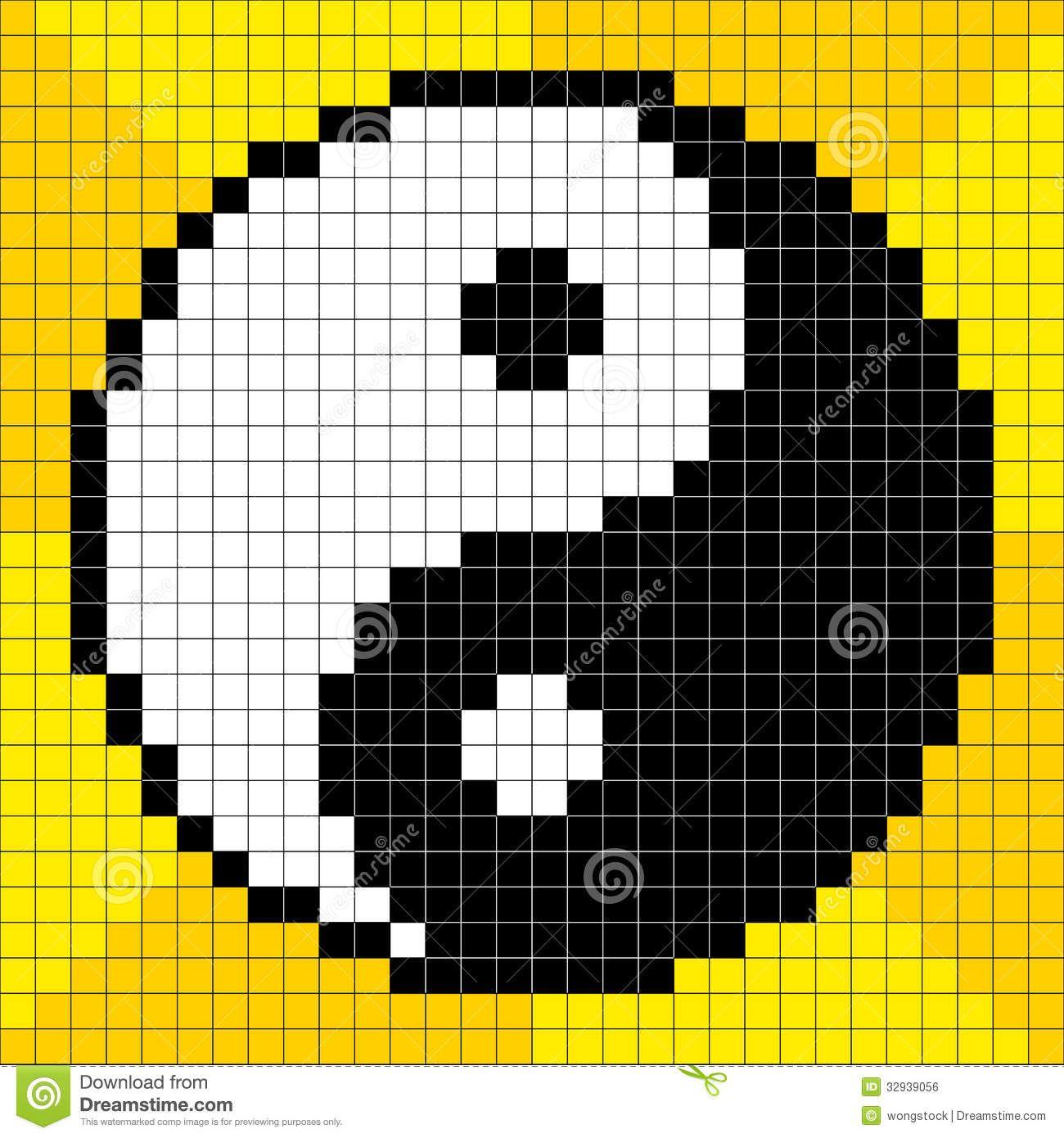 8-bit Pixel-art Yin Yang Symbol Royalty Free Stock Image - Image ...