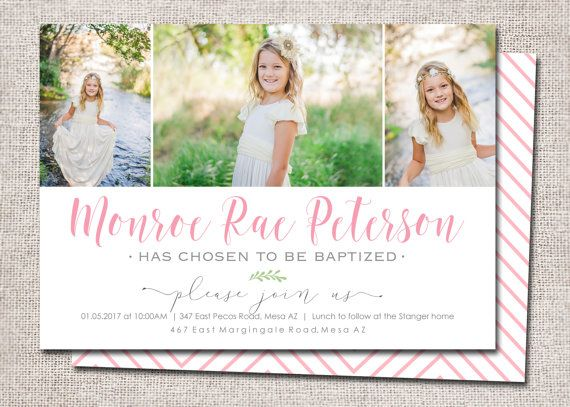 LDS Baptism Invitation Modern Invites Girl Boy Great To Be Eight Card Photo DIY Printable