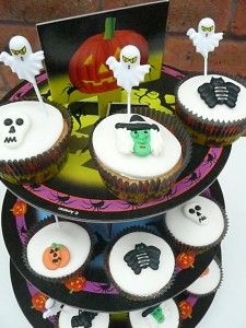 Halloween Cupcakes with Halloween Toppers & Stand