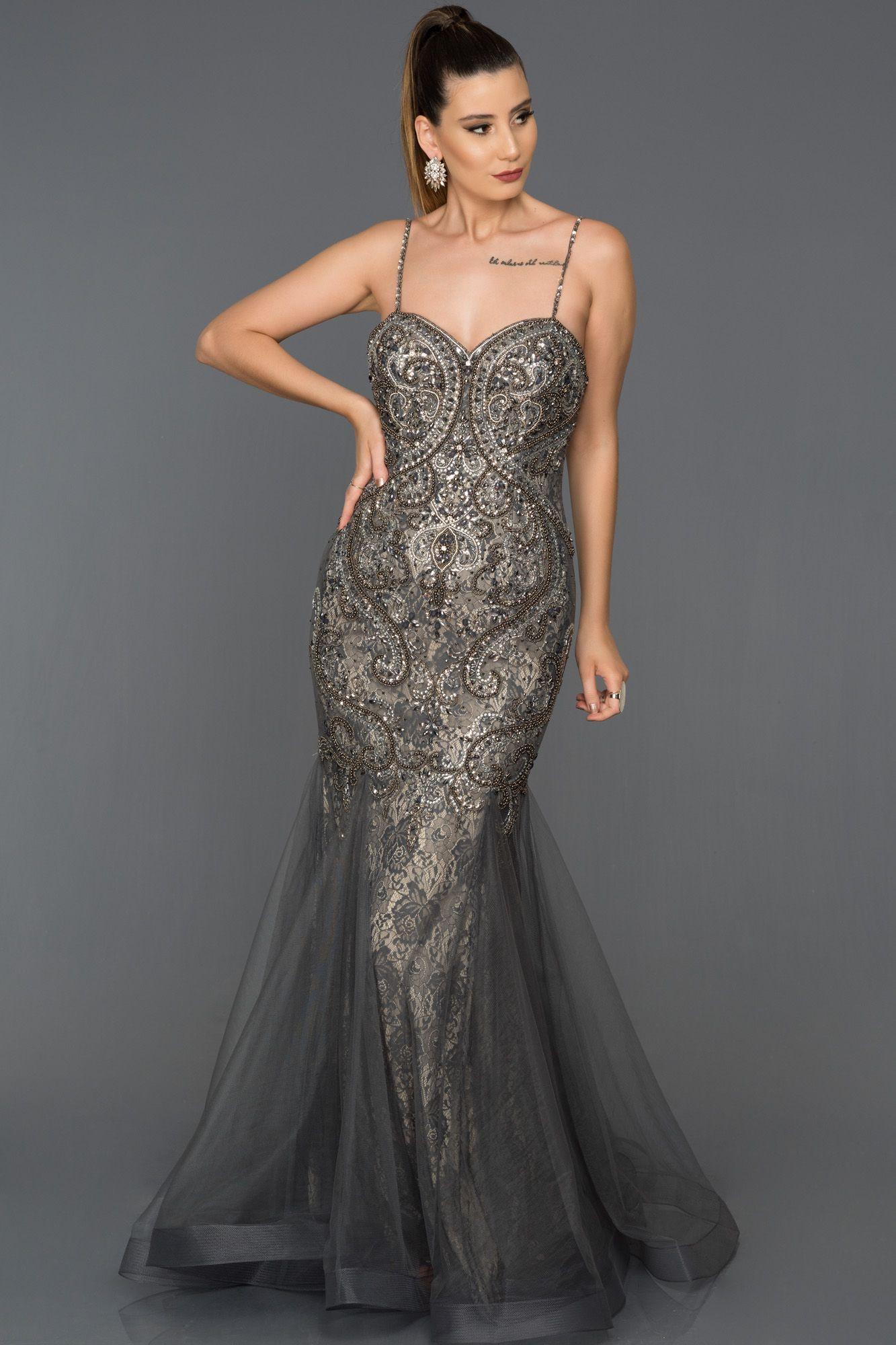 fb6a6c4d000f7 Taşlı Özel Tasarım Abiye AB977 | Abiye | Elbise modelleri, Tasarım, Gri