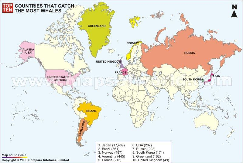 Top ten countries that catch most whales an interesting map we the top ten almond producing countries map depicts the countries with largest almond production gumiabroncs Choice Image
