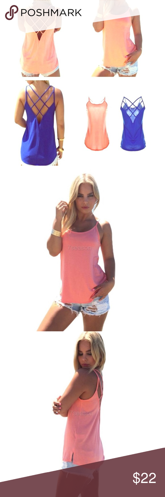 👕Royal Blue Summertime Tank👕 You won't be able to stop grabbing for this perfect summertime choice once you've experienced utter comfort, chic style & the breeze that moves through this flowing blouse w/ ease! Need I say more?! Lol! This best seller features a looser-fit at the midsection & brings it back in twds the bust, spaghetti straps, O-Neck neckline & an open upper back w/ thin straps of material crisscrossing across back, cotton blend, NWT, available in peach Sz M also, pls see…