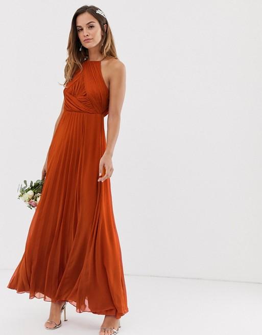 Asos Design Bridesmaid Pinny Maxi Dress With Ruched Bodice Asos Orange Bridesmaid Dresses Maxi Dress Prom Copper Dress