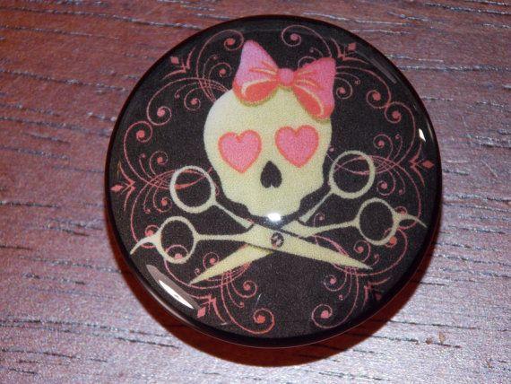Beauty Queen Sugar Skull with Pink Scrolls Dresser Knobs
