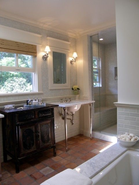 Bathroom With Terracotta Floor Tiles Plus Marble Subway Tiles And Mosaic Tiles Lori Bathroom Remodel Pictures Small Bathroom Makeover Traditional Bathroom