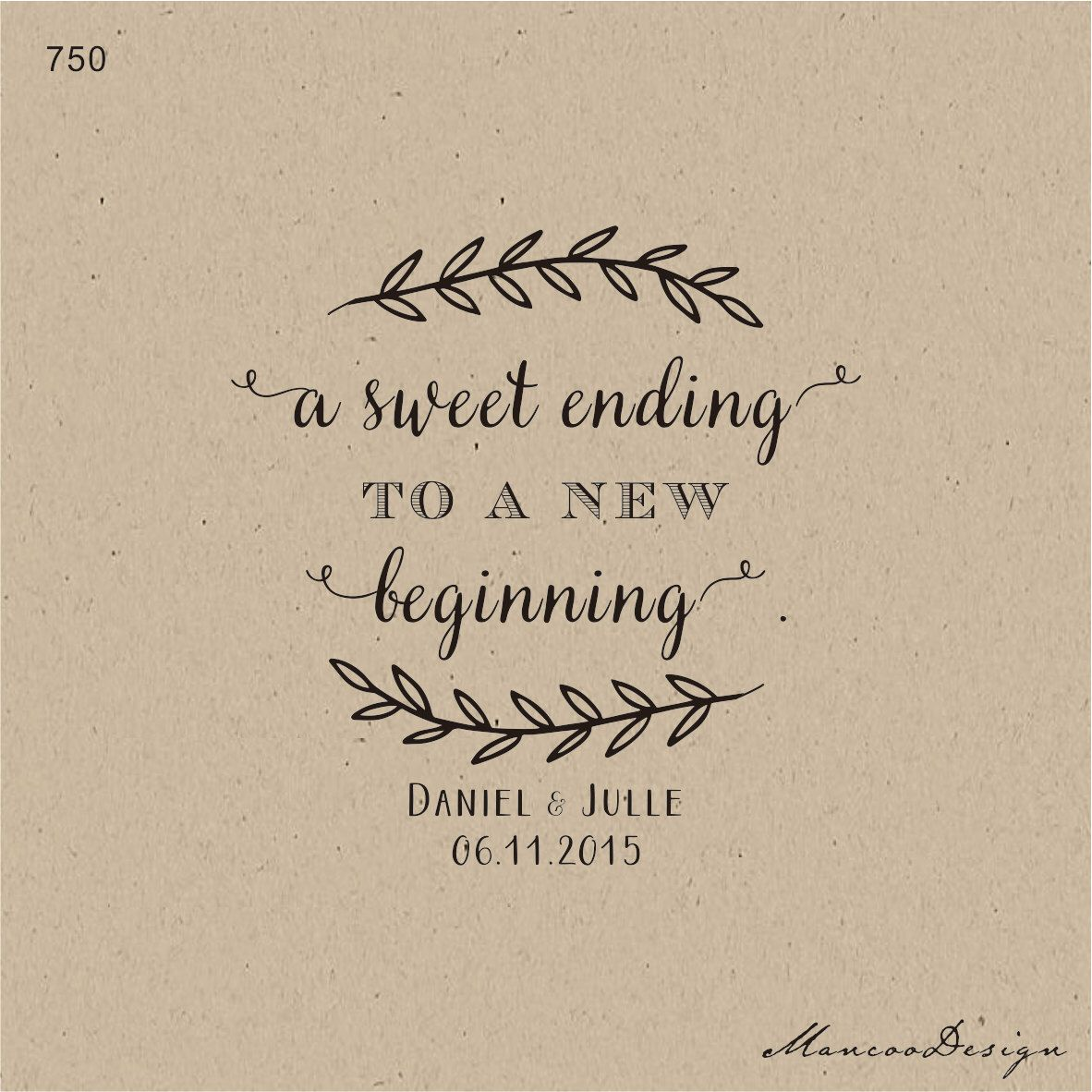 A Sweet Ending To New Beginning Branch Custom Wedding Rubber Stamp Name Amp